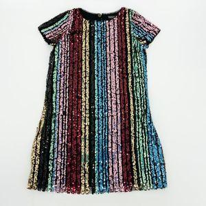 Trixxi Girl Sequin Rainbow Stripe Shift Dress NWT